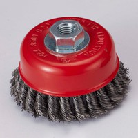 twisted cup wire brush with metal cushion