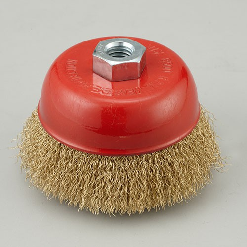 crimped wire cup brush with Brass coated steel