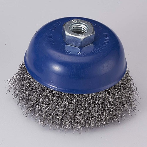 crimped wire cup brush with Carbon steel