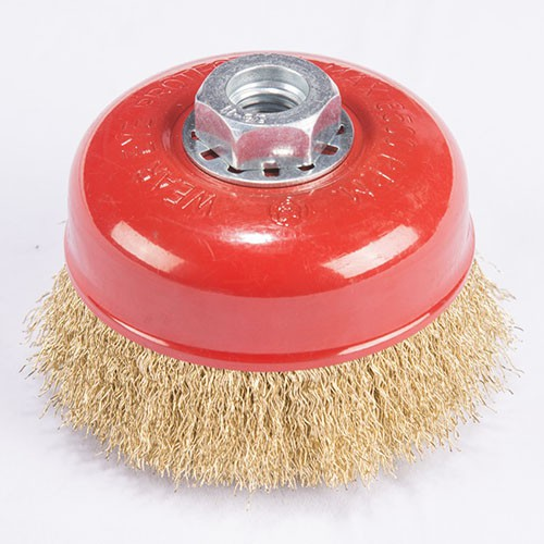 Crimped wire Cup brush with metal cushion