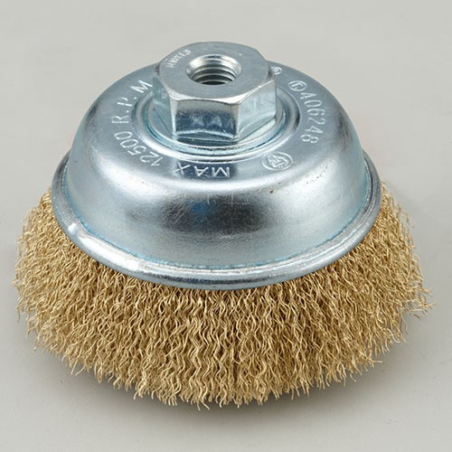 crimped cup wire brush with brass coated steel