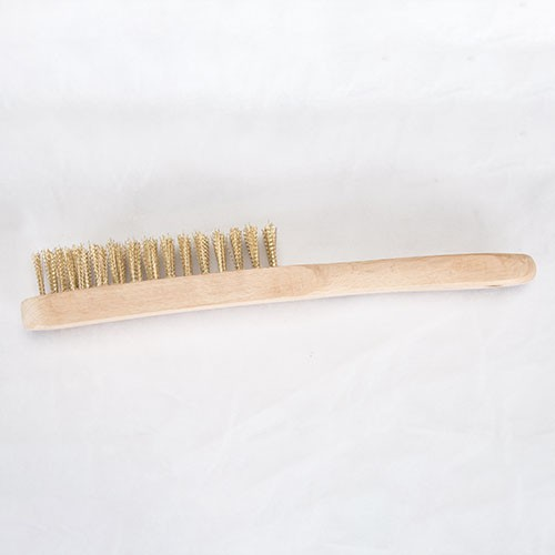 Straight handle wooden wire brush